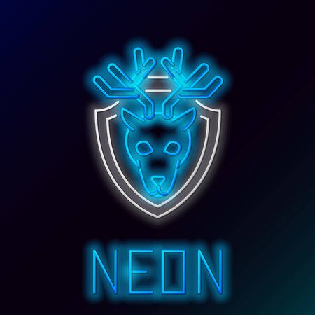 Blue glowing neon line Deer head with antlers on shield icon isolated on black background. Hunting trophy on wall. Colorful outline concept. Vector Illustration