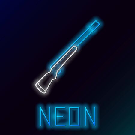 Blue glowing neon line Hunting gun icon isolated on black background. Hunting shotgun. Colorful outline concept. Vector Illustration