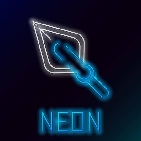 Blue glowing neon line Hipster arrow tip icon isolated on black background. Colorful outline concept. Vector Illustration