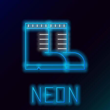 Blue glowing neon line Hunter boots icon isolated on black background. Colorful outline concept. Vector Illustration