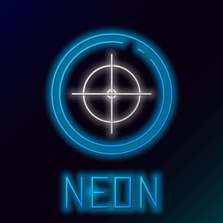 Blue glowing neon line Target sport for shooting competition icon isolated on black background. Clean target with numbers for shooting range or shooting. Colorful outline concept. Vector Illustration