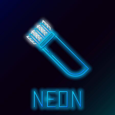 Blue glowing neon line Quiver with arrows icon isolated on black background. Colorful outline concept. Vector Illustration