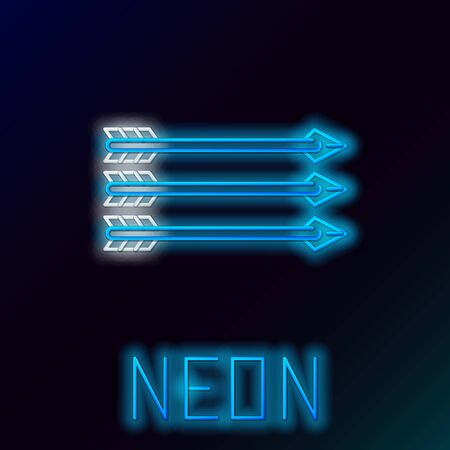 Blue glowing neon line Hipster arrows icon isolated on black background. Colorful outline concept. Vector Illustration Иллюстрация