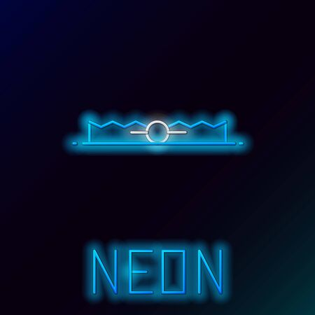 Blue glowing neon line Trap hunting icon isolated on black background. Colorful outline concept. Vector Illustration