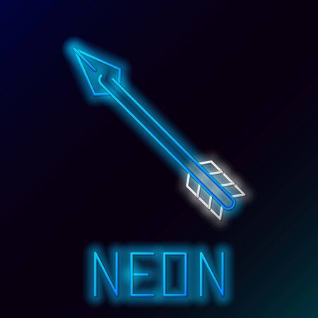 Blue glowing neon line Hipster arrow icon isolated on black background. Colorful outline concept. Vector Illustration