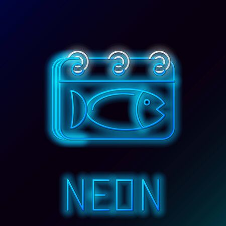 Blue glowing neon line Calendar with a fish icon isolated on black background. Day of fish. Colorful outline concept. Vector Illustration Иллюстрация