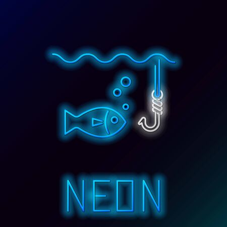 Blue glowing neon line Fishing hook under water with fish icon isolated on black background. Fishing tackle. Colorful outline concept. Vector Illustration  イラスト・ベクター素材