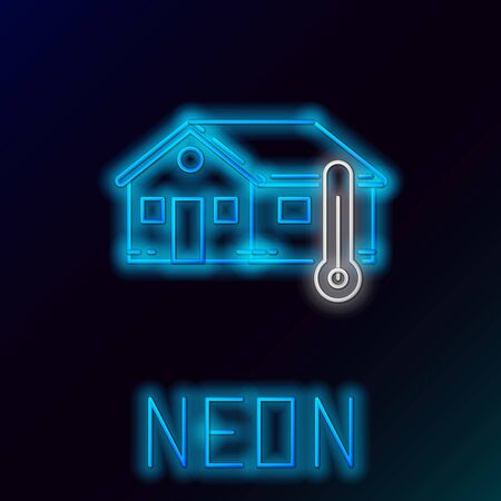 Blue glowing neon line House temperature icon isolated on black background. Thermometer icon. Colorful outline concept. Vector Illustration