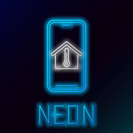 Blue glowing neon line Mobile phone with house temperature icon isolated on black background. Thermometer icon. Colorful outline concept. Vector Illustration Stock Illustratie