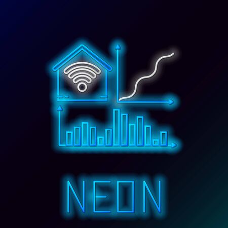 Blue glowing neon line Smart home with wi-fi icon isolated on black background. Remote control. Colorful outline concept. Vector Illustration