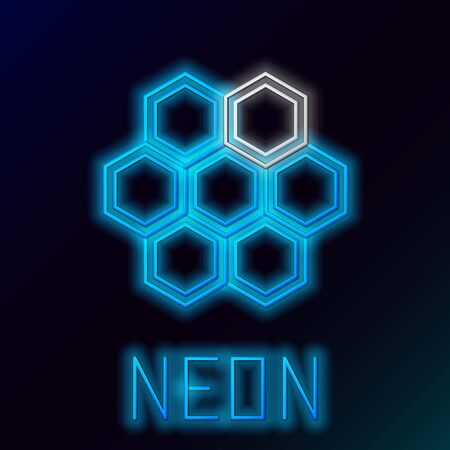 Blue glowing neon line Honeycomb icon isolated on black background. Honey cells symbol. Sweet natural food. Colorful outline concept. Vector Illustration
