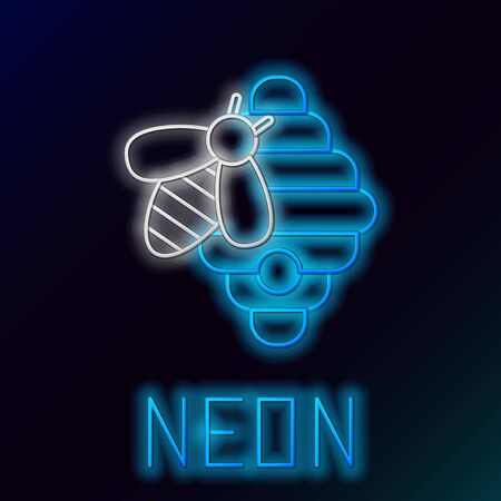 Blue glowing neon line Hive for bees icon isolated on black background. Beehive symbol. Apiary and beekeeping. Sweet natural food. Colorful outline concept. Vector Illustration