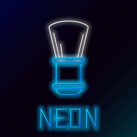 Blue glowing neon line Shaving brush icon isolated on black background. Barbershop symbol. Colorful outline concept. Vector Illustration Ilustrace