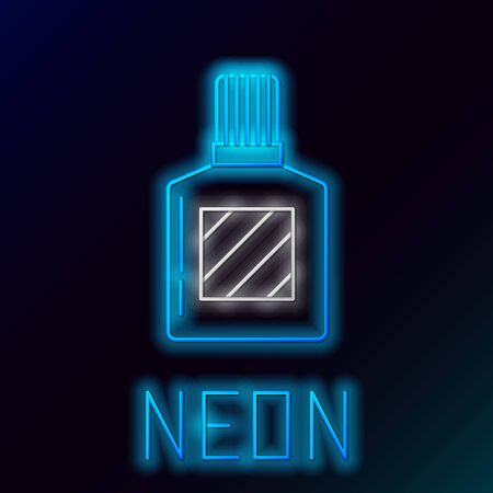 Blue glowing neon line Aftershave icon isolated on black background. Cologne spray icon. Male perfume bottle. Colorful outline concept. Vector Illustration Stockfoto - 133447008
