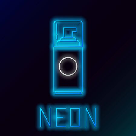 Blue glowing neon line Shaving gel foam icon isolated on black background. Shaving cream. Colorful outline concept. Vector Illustration
