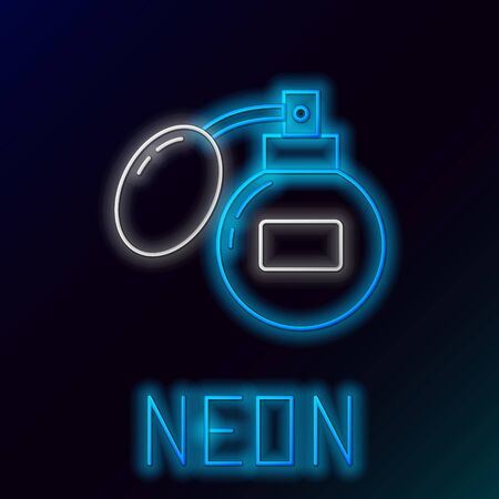Blue glowing neon line Aftershave icon isolated on black background. Cologne spray icon. Male perfume bottle. Colorful outline concept. Vector Illustration Stockfoto - 133447015