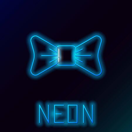 Blue glowing neon line Bow tie icon isolated on black background. Colorful outline concept. Vector Illustration Ilustrace