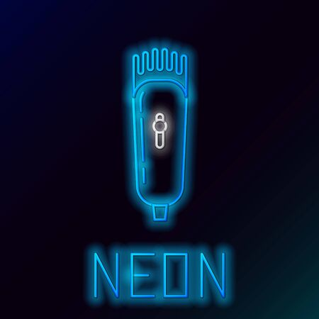Blue glowing neon line Electrical hair clipper or shaver icon isolated on black background. Barbershop symbol. Colorful outline concept. Vector Illustration