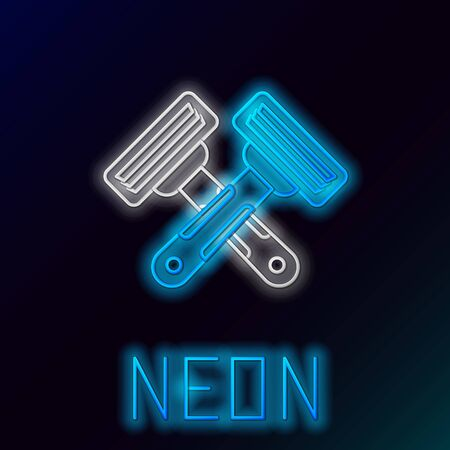 Blue glowing neon line Crossed shaving razor icon isolated on black background. Colorful outline concept. Vector Illustration