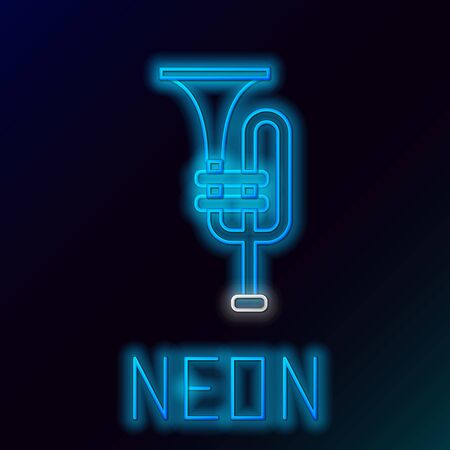 Blue glowing neon line Musical instrument trumpet icon isolated on black background. Colorful outline concept. Vector Illustration