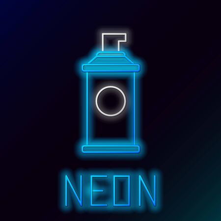 Blue glowing neon line Shaving gel foam icon isolated on black background. Shaving cream. Colorful outline concept. Vector Illustration Stockfoto - 133447094