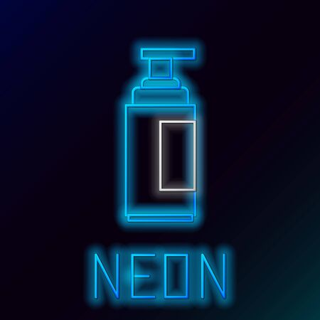 Blue glowing neon line Cream or lotion cosmetic tube icon isolated on black background. Body care products for men. Colorful outline concept. Vector Illustration