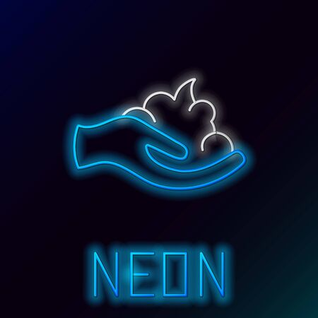 Blue glowing neon line Shaving gel foam on hand icon isolated on black background. Shaving cream. Colorful outline concept. Vector Illustration Stock Illustratie