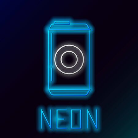 Blue glowing neon line Beer can icon isolated on black background. Colorful outline concept. Vector Illustration