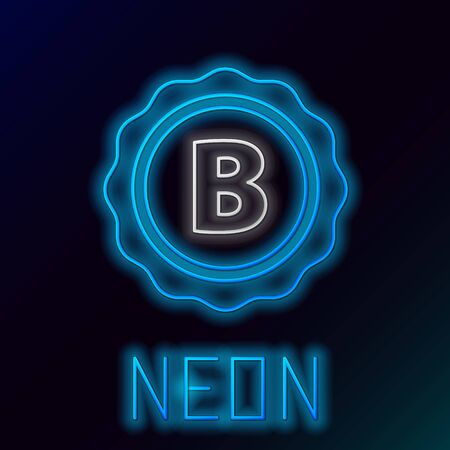 Blue glowing neon line Bottle cap with inscription beer icon isolated on black background. Colorful outline concept. Vector Illustration