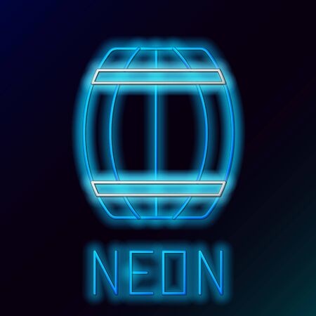 Blue glowing neon line Wooden barrel icon isolated on black background. Alcohol barrel, drink container, wooden keg for beer, whiskey, wine. Colorful outline concept. Vector Illustration