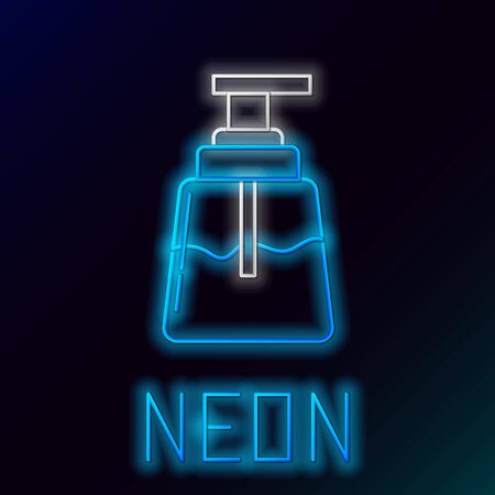 Blue glowing neon line Aftershave icon isolated on black background. Cologne spray icon. Male perfume bottle. Colorful outline concept. Vector Illustration Stock Illustratie