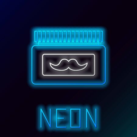 Blue glowing neon line Cream or lotion cosmetic jar icon isolated on black background. Body care products for men. Colorful outline concept. Vector Illustration Stockfoto - 133446939