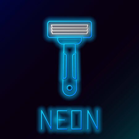 Blue glowing neon line Shaving razor icon isolated on black background. Colorful outline concept. Vector Illustration Ilustrace
