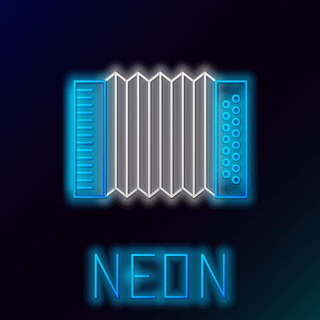 Blue glowing neon line Musical instrument accordion icon isolated on black background. Classical bayan, harmonic. Colorful outline concept. Vector Illustration