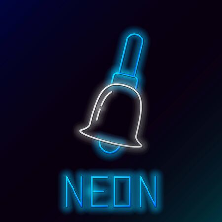 Blue glowing neon line Ringing bell icon isolated on black background. Alarm symbol, service bell, handbell sign, notification symbol. Colorful outline concept. Vector Illustration 일러스트