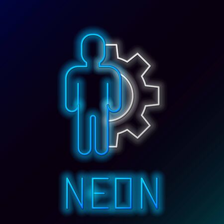 Blue glowing neon line Human with gear inside icon isolated on black background. Artificial intelligence. Thinking brain sign. Symbol work of brain. Colorful outline concept. Vector Illustration