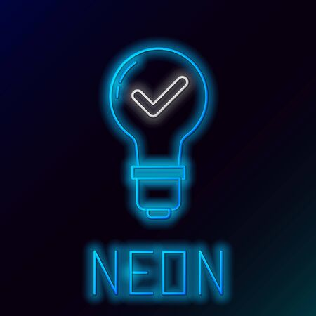 Blue glowing neon line Light bulb and check mark icon isolated on black background. Concept of idea. Colorful outline concept. Vector Illustration
