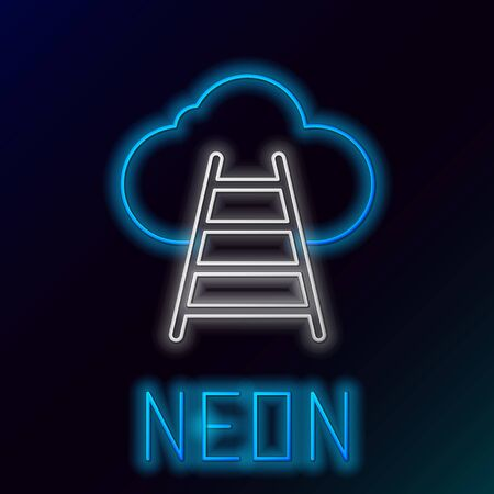 Blue glowing neon line Ladder leading to cloud icon isolated on black background. Stairs leading to the cloud. Colorful outline concept. Vector Illustration Çizim