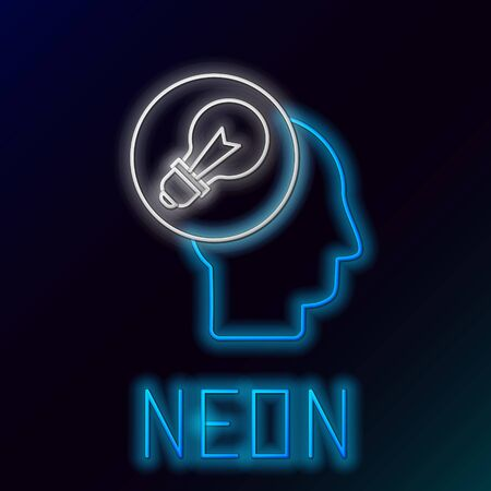 Blue glowing neon line Human head with lamp bulb icon isolated on black background. Colorful outline concept. Vector Illustration Иллюстрация