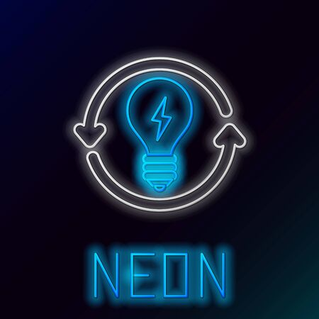 Blue glowing neon line Recycle and light bulb with lightning symbol icon isolated on black background. Light lamp sign. Idea symbol. Colorful outline concept. Vector Illustration Illusztráció