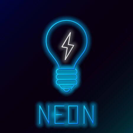 Blue glowing neon line Light bulb with lightning symbol icon isolated on black background. Light lamp sign. Idea symbol. Colorful outline concept. Vector Illustration