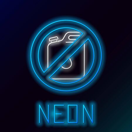 Blue glowing neon line No canister for gasoline icon isolated on black background. Diesel gas icon. Colorful outline concept. Vector Illustration Иллюстрация