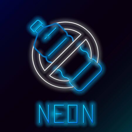 Blue glowing neon line No plastic bottle icon isolated on black background. Colorful outline concept. Vector Illustration Фото со стока - 133445860
