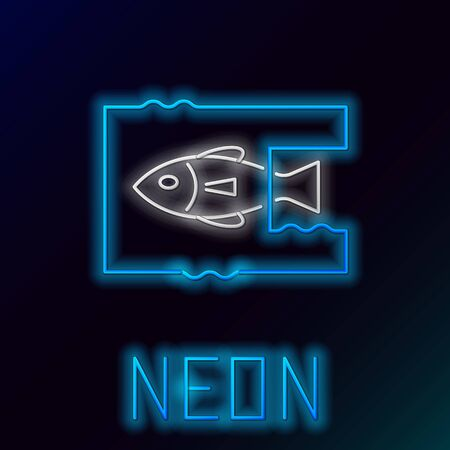 Blue glowing neon line Stop ocean plastic pollution icon isolated on black background. Environment protection concept. Fish say no to plastic. Colorful outline concept. Vector Illustration