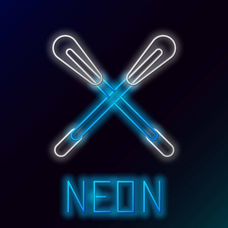 Blue glowing neon line Crossed paddle icon isolated on black background. Paddle boat oars. Colorful outline concept. Vector Illustration