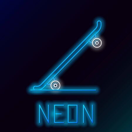 Blue glowing neon line Skateboard icon isolated on black background. Extreme sport. Sport equipment. Colorful outline concept. Vector Illustration
