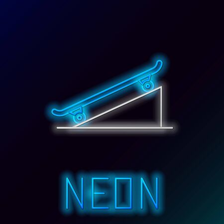 Blue glowing neon line Skateboard on street ramp icon isolated on black background. Extreme sport. Sport equipment. Colorful outline concept. Vector Illustration 向量圖像