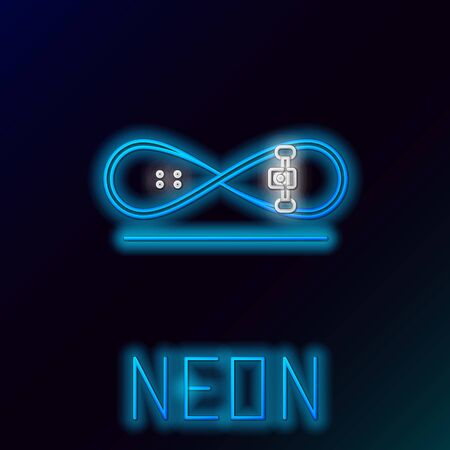 Blue glowing neon line Skateboard trick icon isolated on black background. Extreme sport. Sport equipment. Colorful outline concept. Vector Illustration