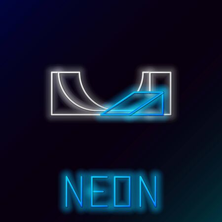 Blue glowing neon line Skate park icon isolated on black background. Set of ramp, roller, stairs for a skatepark. Extreme sport. Colorful outline concept. Vector Illustration