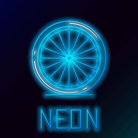 Blue glowing neon line Bicycle wheel icon isolated on black background. Bike race. Extreme sport. Sport equipment. Colorful outline concept. Vector Illustration